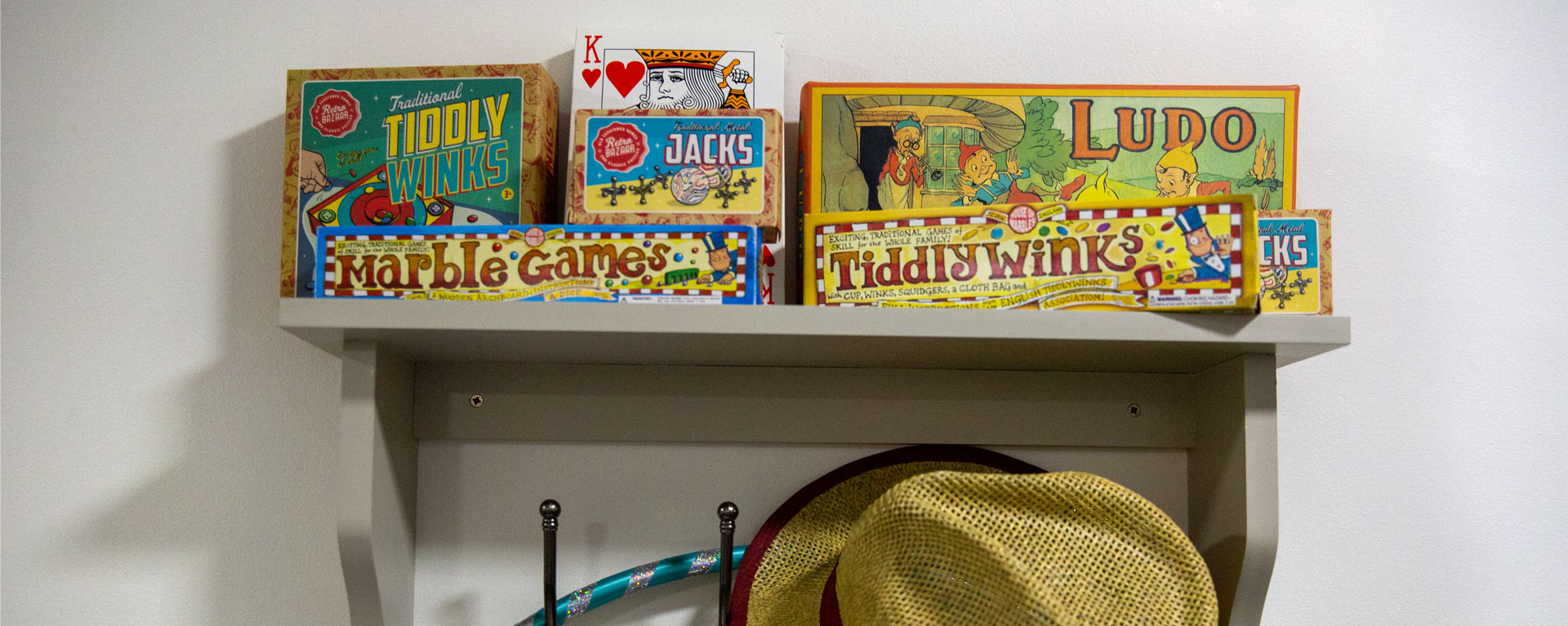 Shelf full of fun board games