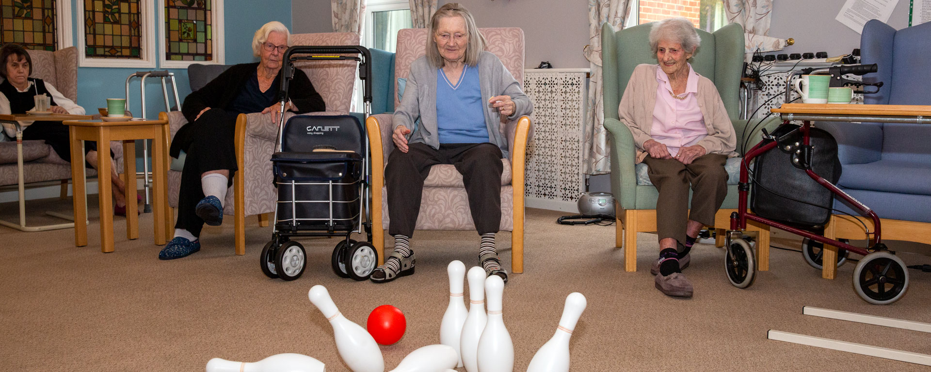 Residents playing skittles
