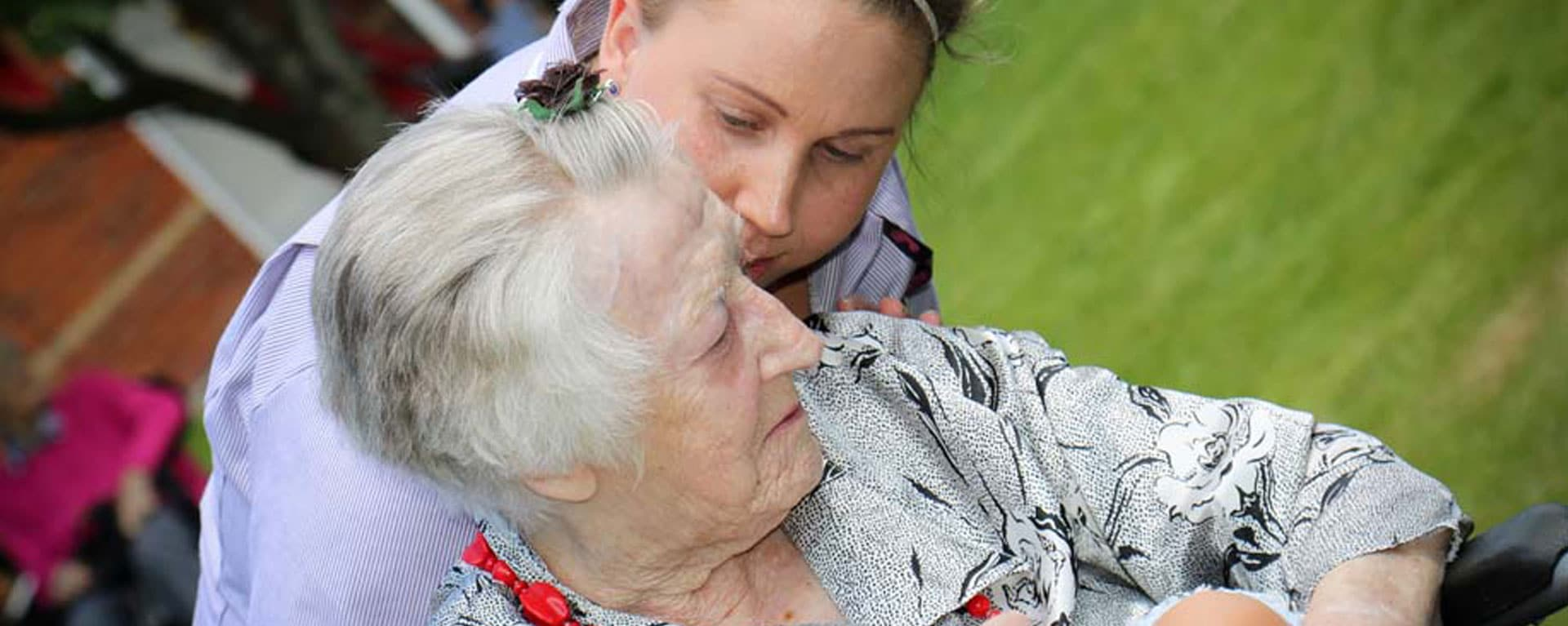 Carer checking if a resident is okay