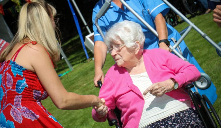 Resident and family at Laurel Care Home
