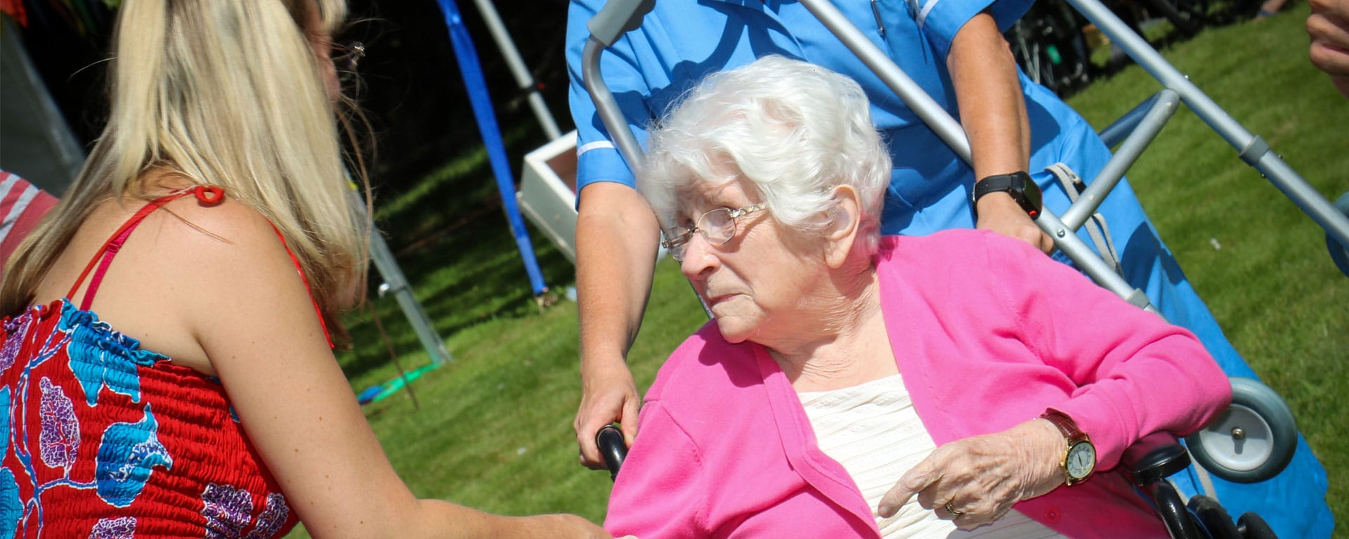 Resident, relative and nurse in Laurel Care Home Gardens